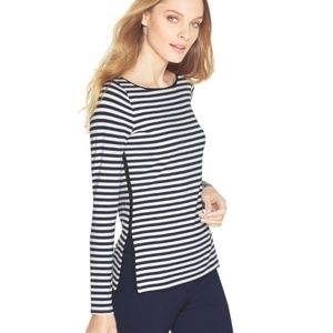 WHBM Small Blue White Striped Knit Pullover Top